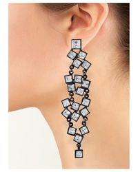Kenneth Jay Lane | Black Plated Crystal Squares Clip Earring | Lyst