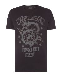 DIESEL | Blue T-newyn Snake Graphic T Shirt for Men | Lyst