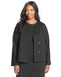Ellen Tracy - Black Stretch Knit Peplum Jacket - Lyst