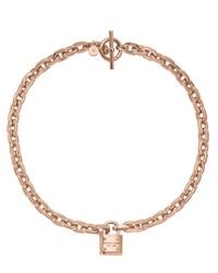 Michael Kors | Pink Rose Goldtone Padlock Pendant Necklace | Lyst