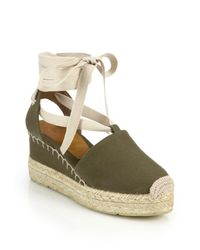 Pink Pony | Green Uma Canvas Espadrille Wedge Sandals | Lyst