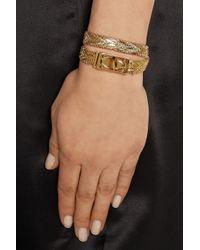 Givenchy Metallic Shark Lock Gold-tone Wrap Bracelet
