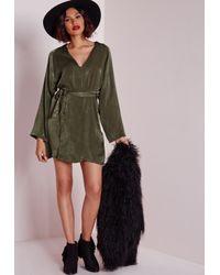 Missguided - Natural Silky Kimono Wrap Mini Dress With Belt Khaki - Lyst