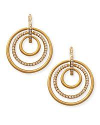 Carelle - Metallic 18k Moderne 3-ring Pave Diamond Earrings - Lyst