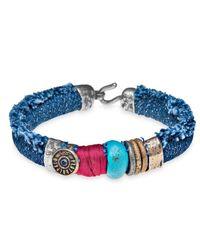 Platadepalo | Blue Denim Silk &r Leather Bracelet | Lyst