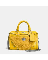 COACH - Metallic Rhyder Shearling and Leather Satchel - Lyst