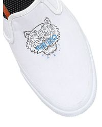 KENZO - White Tiger Cotton Canvas Slip-on Sneakers - Lyst