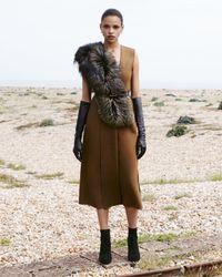 Jason Wu Brown Fox Fur-trimmed Wool Sheath Dress