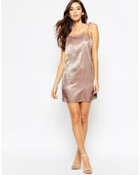 ASOS | Pink Petite Exclusive Satin Mini Cami Dress With 90s High Neck & Tie Straps | Lyst