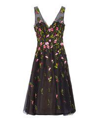 Oscar de la Renta | Black Embroidered Floral Silk-organza Dress | Lyst