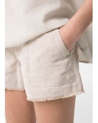 Mango Natural Striped Linen Shorts