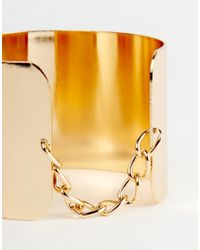 ASOS | Metallic Cuff And Chain Bangle Bracelet | Lyst
