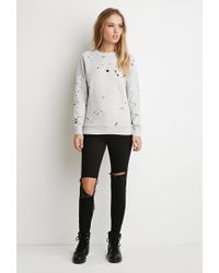 Forever 21 Gray Paint Spatter Graphic Sweatshirt