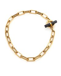 Michael Kors | Metallic Cityscape Chains Black Agate Toggle Necklace | Lyst