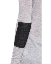 JOSEPH Gray Intarsia Cashmere Sweater - Grey Chine/patch Black