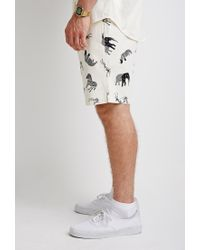 Forever 21 Black Safari Print Drawstring Shorts for men