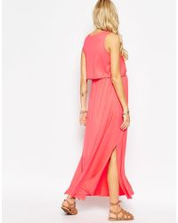 ASOS | Pink Nursing Sleeveless Maxi Dress With Split Sides | Lyst