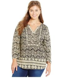 Lucky Brand | Black Plus Size Floral-print Peasant Top | Lyst