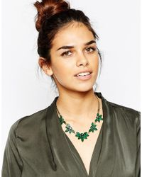 Little Mistress - Green Emerald Stone Collar Necklace - Lyst
