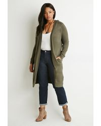 Forever 21 | Green Plus Size Marled Open-front Cardigan | Lyst
