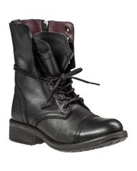 Steve Madden Black Tropa 2.0 Leather Combat Boots