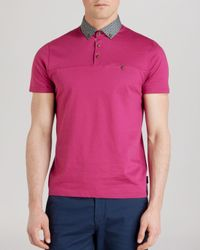 Ted Baker | Pink Hazdeb Printed Collar Relaxed Fit Polo Shirt for Men | Lyst