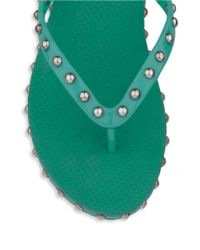 Isa Tapia | Green Kate Studded Flip Flops | Lyst