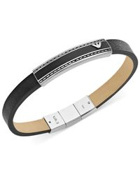 Emporio Armani | Metallic Men'S Stainless Steel And Black Leather Lacquer Logo Bracelet for Men | Lyst