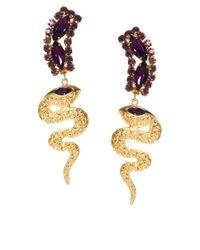 ASOS - Purple Gem Snake Drop Earring - Lyst