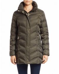 Kenneth Cole | Green Convertible Faux Fur-trimmed Puffer Coat | Lyst