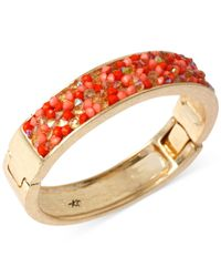Kenneth Cole Red Gold-Tone Coral Mixed Bead Hinged Bangle Bracelet