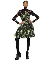 KENZO Brown Strapless Techno Jacquard Dress