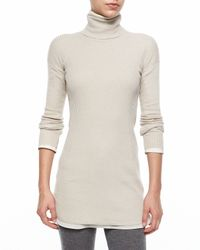 Brunello Cucinelli - Gray Long-sleeve Turtleneck Ribbed Sweater - Lyst