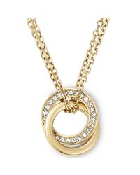 Michael Kors - Metallic Goldtone Crystal Pavè Interlocked Ring Pendant Necklace - Lyst