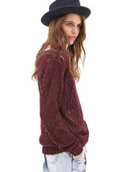 Forever 21 - Red Open-knit Pom Pom Sweater - Lyst