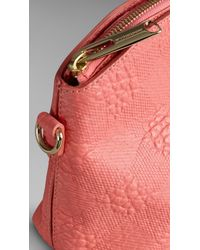 Burberry - Pink Small Embossed Check Leather Clutch Bag - Lyst