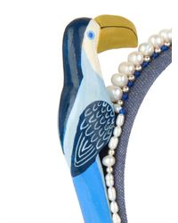 Masterpeace | Blue Toucan And Pearls Denim Headband | Lyst