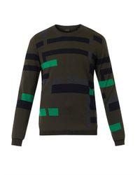 PS by Paul Smith - Green Broken-Stripe Intarsia Wool Sweater for Men - Lyst