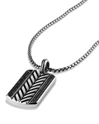 David Yurman - Metallic Modern Chevron Tag Necklace With Black Diamonds for Men - Lyst