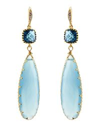 Indulgems | Blue Chalcedony & Blue Glass Station Teardrop Earrings | Lyst