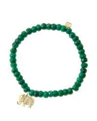 Sydney Evan | Green 6Mm Faceted Emerald Beaded Bracelet With 14K Gold/Diamond Small Elephant Charm (Made To Order) | Lyst