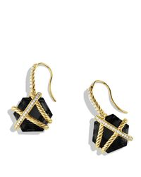David Yurman - Yellow Cable Wrap Drop Earrings With Black Onyx - Lyst
