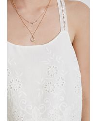 Forever 21 | White Floral Embroidered Cami | Lyst