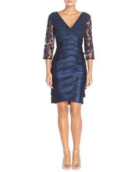 Adrianna Papell   Blue Lace-Bodice Tiered Sheath Dress   Lyst
