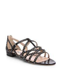 Miu Miu | Black Studded Leather Strappy Sandals | Lyst
