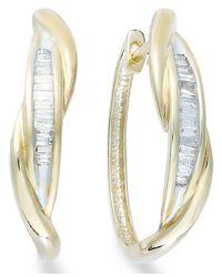 YellOra - White ™ Diamond Twist Hoop Earrings In ™ (1/4 Ct. T.w.) - Lyst