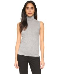 Vince | Gray Skinny Rib Turtleneck Sweater | Lyst
