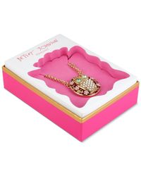 Betsey Johnson | Metallic Gold-tone Embellished Owl Pendant Necklace | Lyst