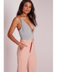 Missguided - Gray Slinky Double Strap Bodysuit Grey - Lyst
