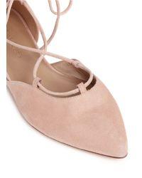 Stuart Weitzman Pink 'gilligan' D'orsay Suede Lace-up Flats